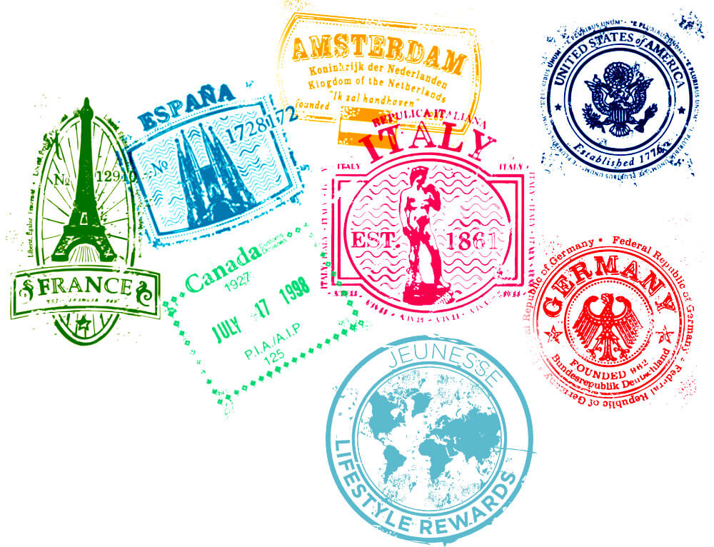 Jeunesse Global Travel Stamps